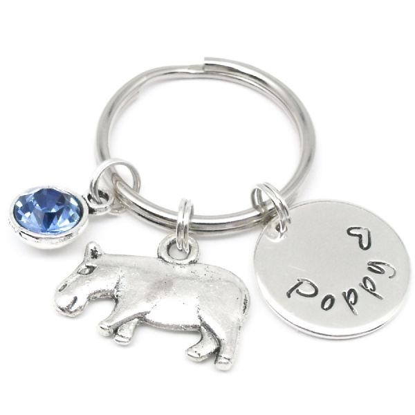 Hippo name personalised keyring gift with birthstone